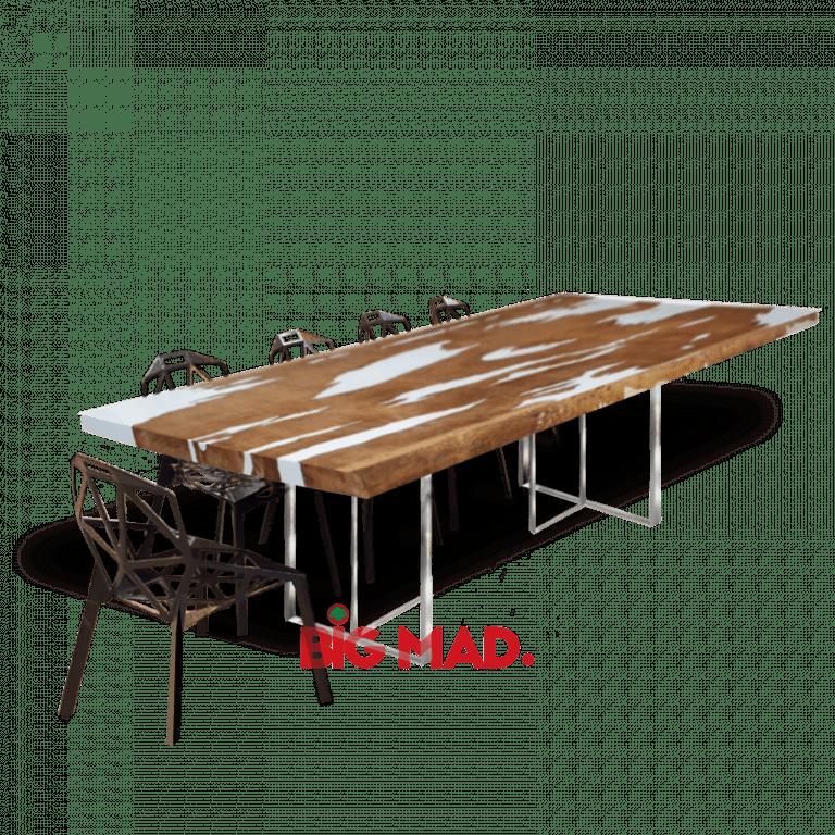 Mesa de Jantar Cow Tora de Madeira Com Resina
