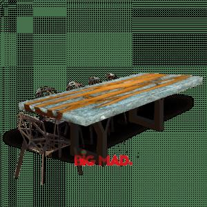 Mesa de Jantar Crystal Com Resina e tora de Madeira