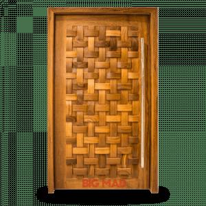 Porta Pivotante de Madeira Macica Couro Trancado