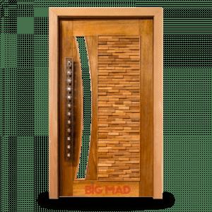 Porta Pivotante de Madeira Macica Mix com visor em arco