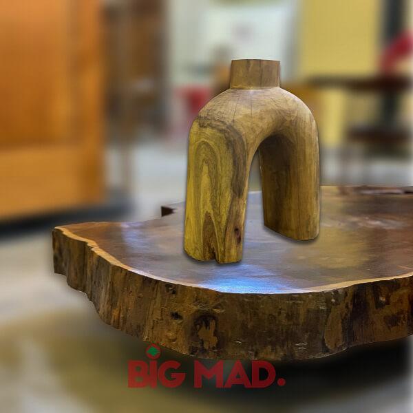 Escultura de Madeira Macica Abstrata