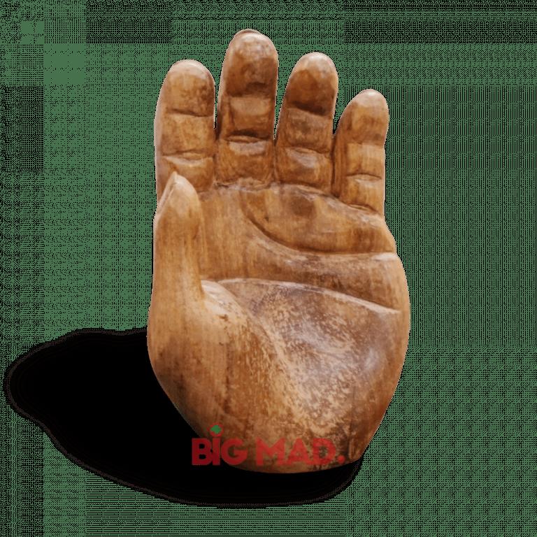 Escultura Hand em Madeira Macica