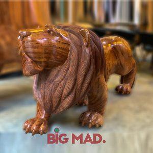 Escultura em Madeira Macica Leao Grande