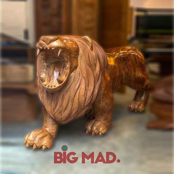 Escultura de Madeira Macica Leao Super Grande