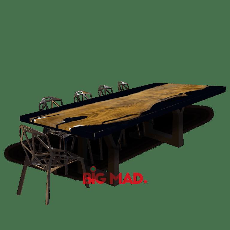 Mesa de Jantar tora de madeira com resina preta