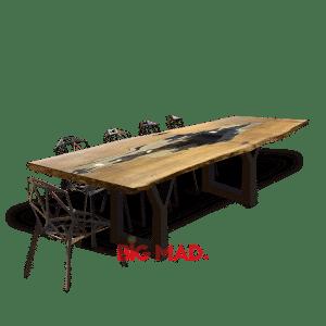 Mesa de Jantar Tora de Madeira Com Vidro