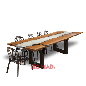 Mesa de Jantar Tora de Madeira Com Resina Belga Branca
